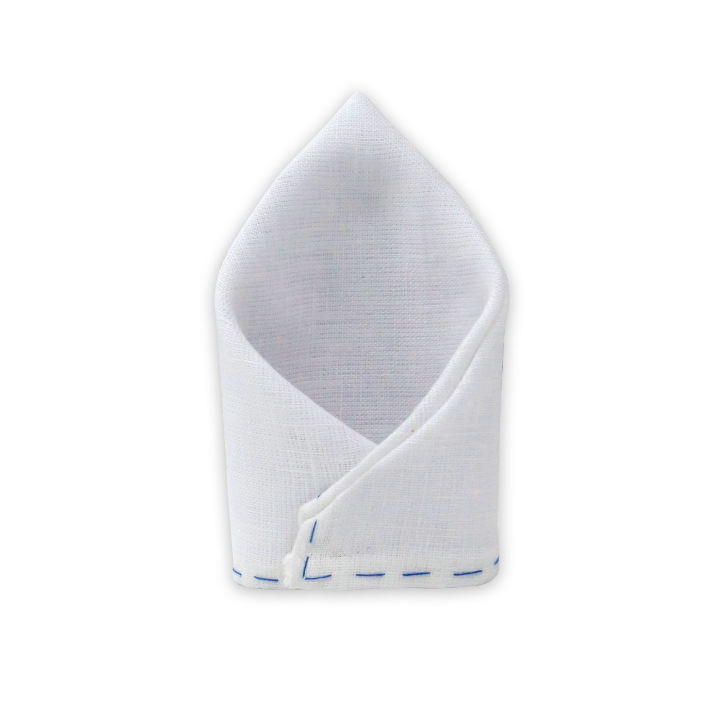 Fountain Solid - White/ Blue(100% Pure Linen Pocket Square)