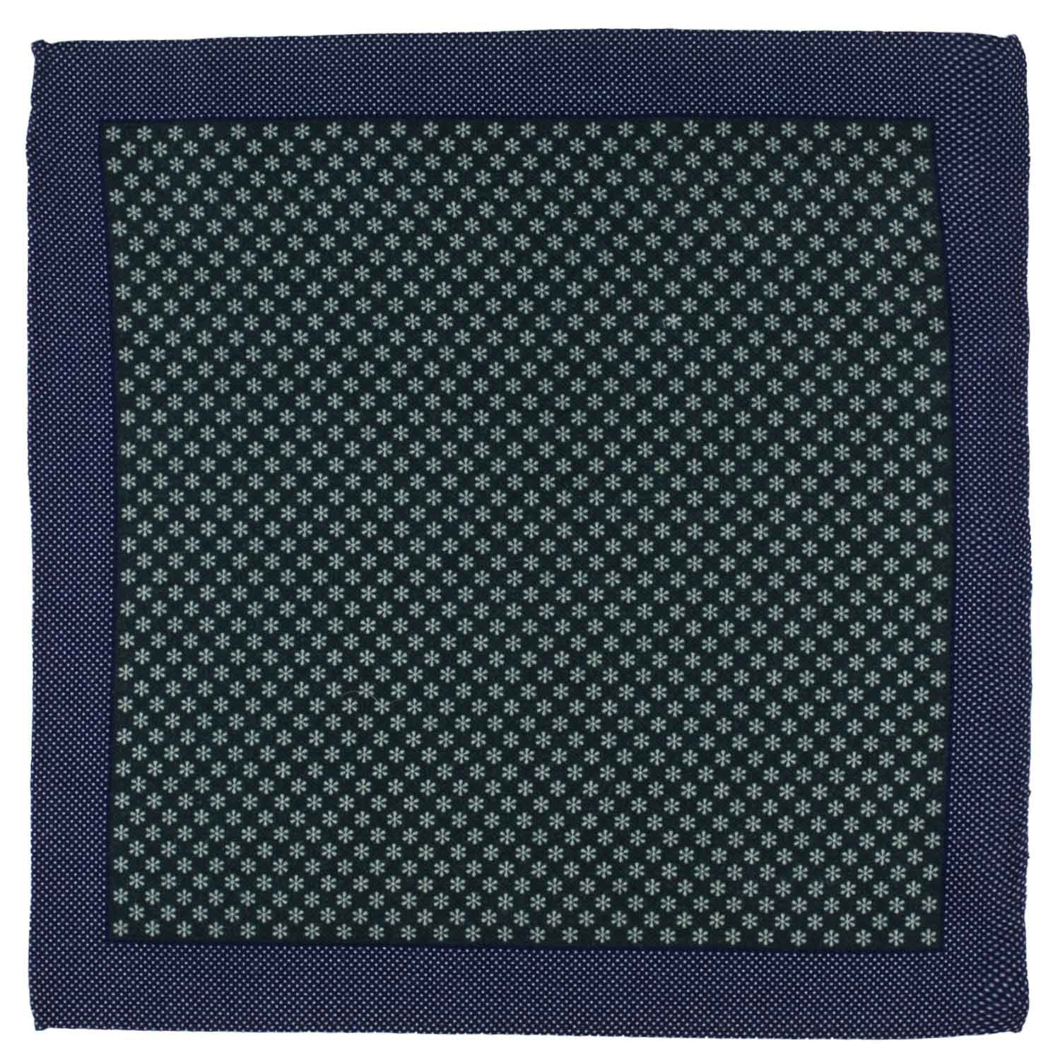 Medallion Floral Green Wool Pocket Square For Me By The Tie Hub