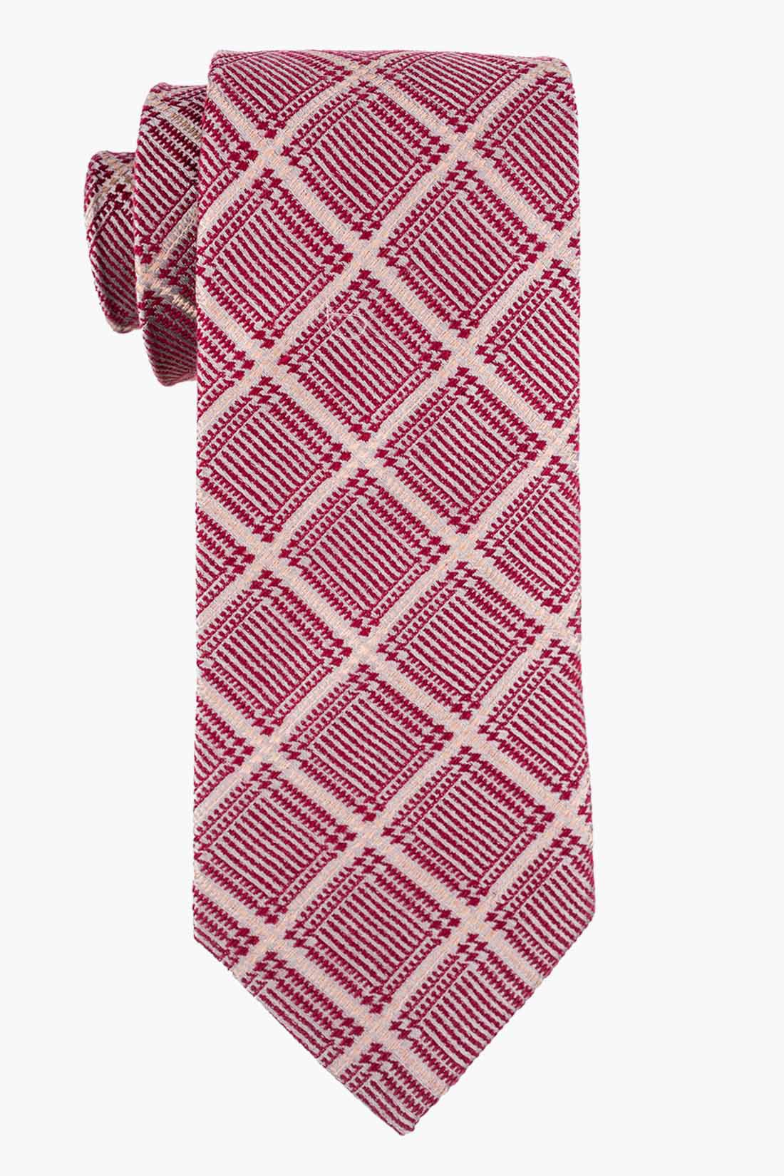 Maroon And Off-white Plaid Wool And Silk Necktie