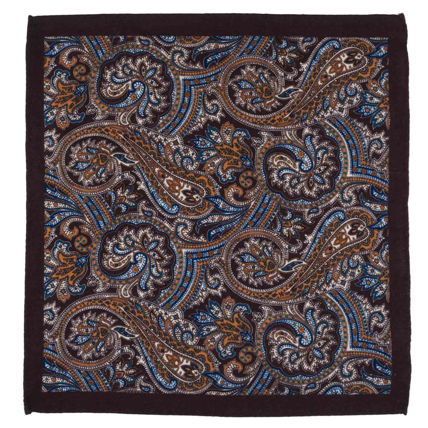 Serpentine Paisley Brown Wool Pocket Square For Me By The Tie Hub