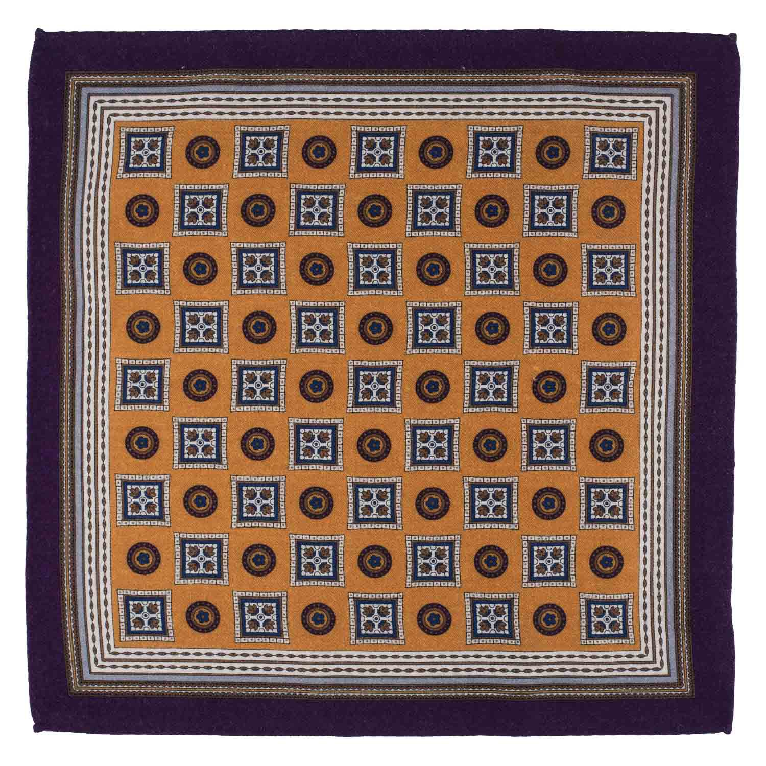 Vexed Geo Yellow Wool Pocket Square For Men
