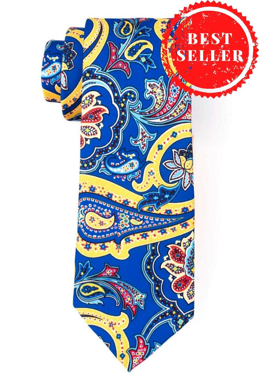 Blue And Yellow Paisley Necktie