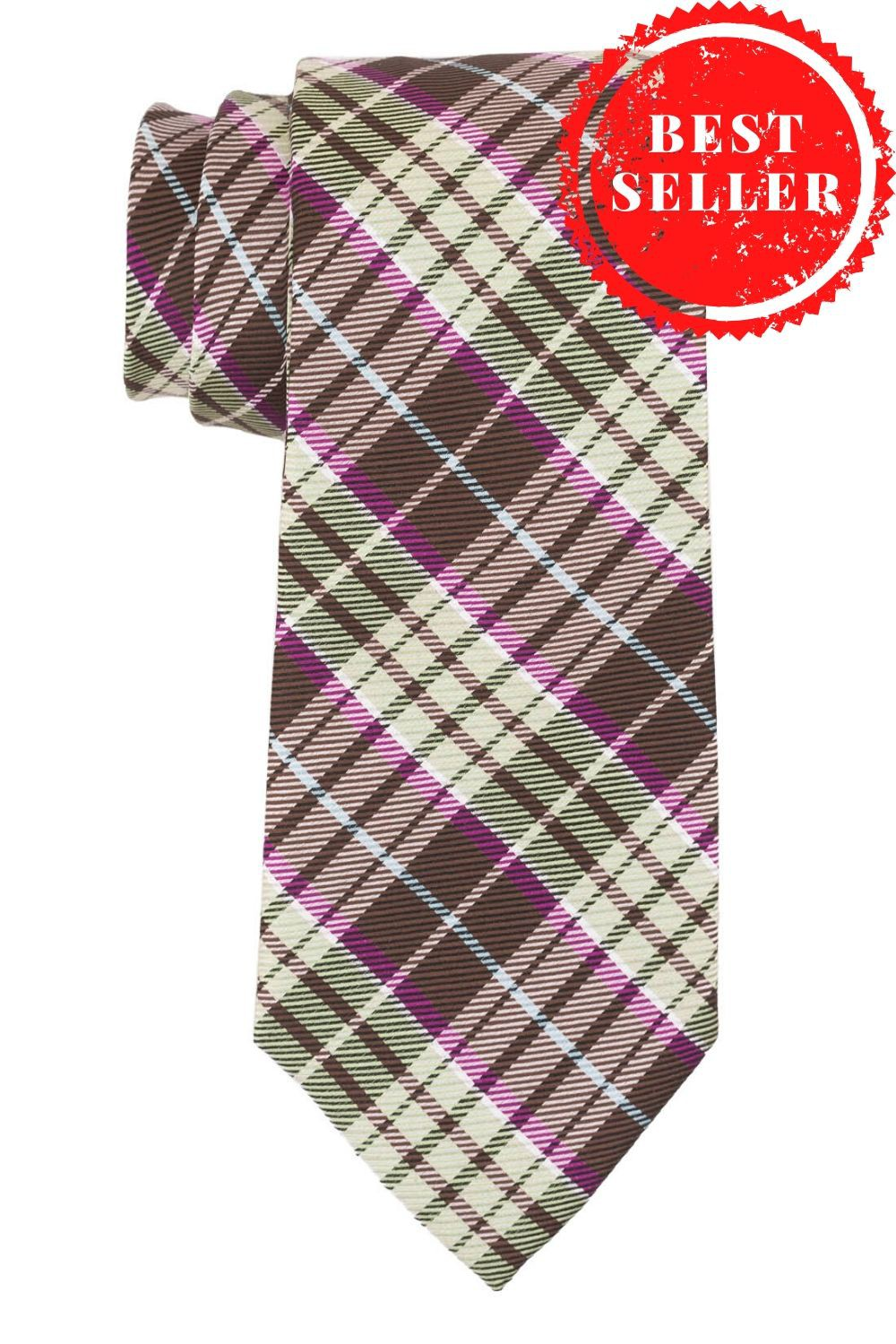 Green Checks With Brown Stripe Necktie