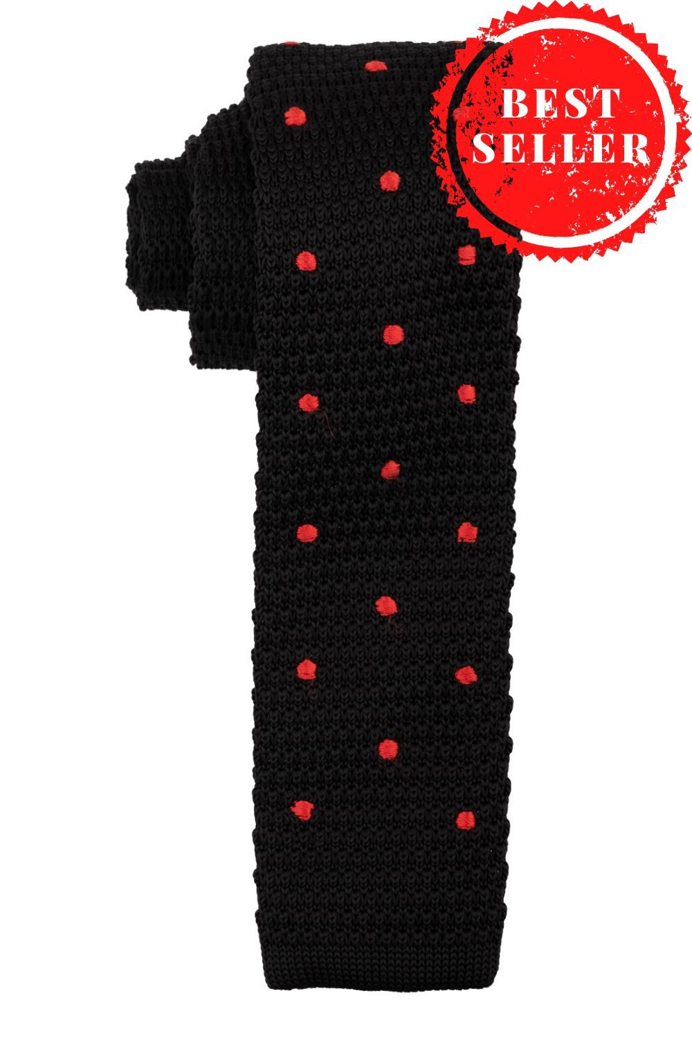 Sport Dots Black with Red polka Knitted Necktie