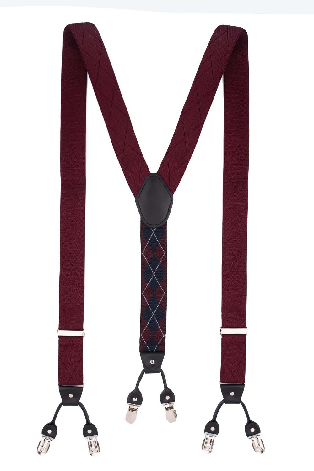 Diamond Tip Maroon Y Back Suspender