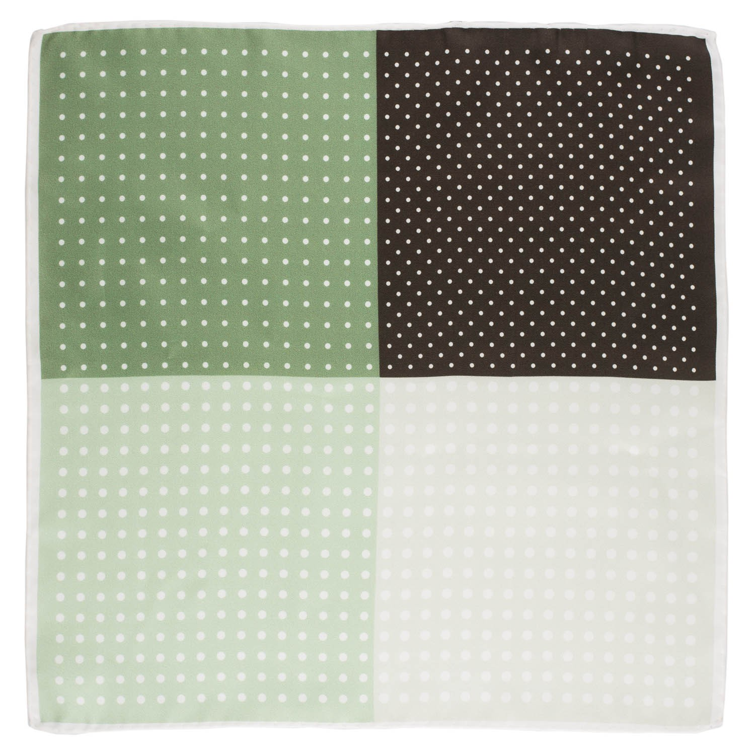 Four Square Polka Black And Green Silk Pocket Square For Men By The Tie Hub