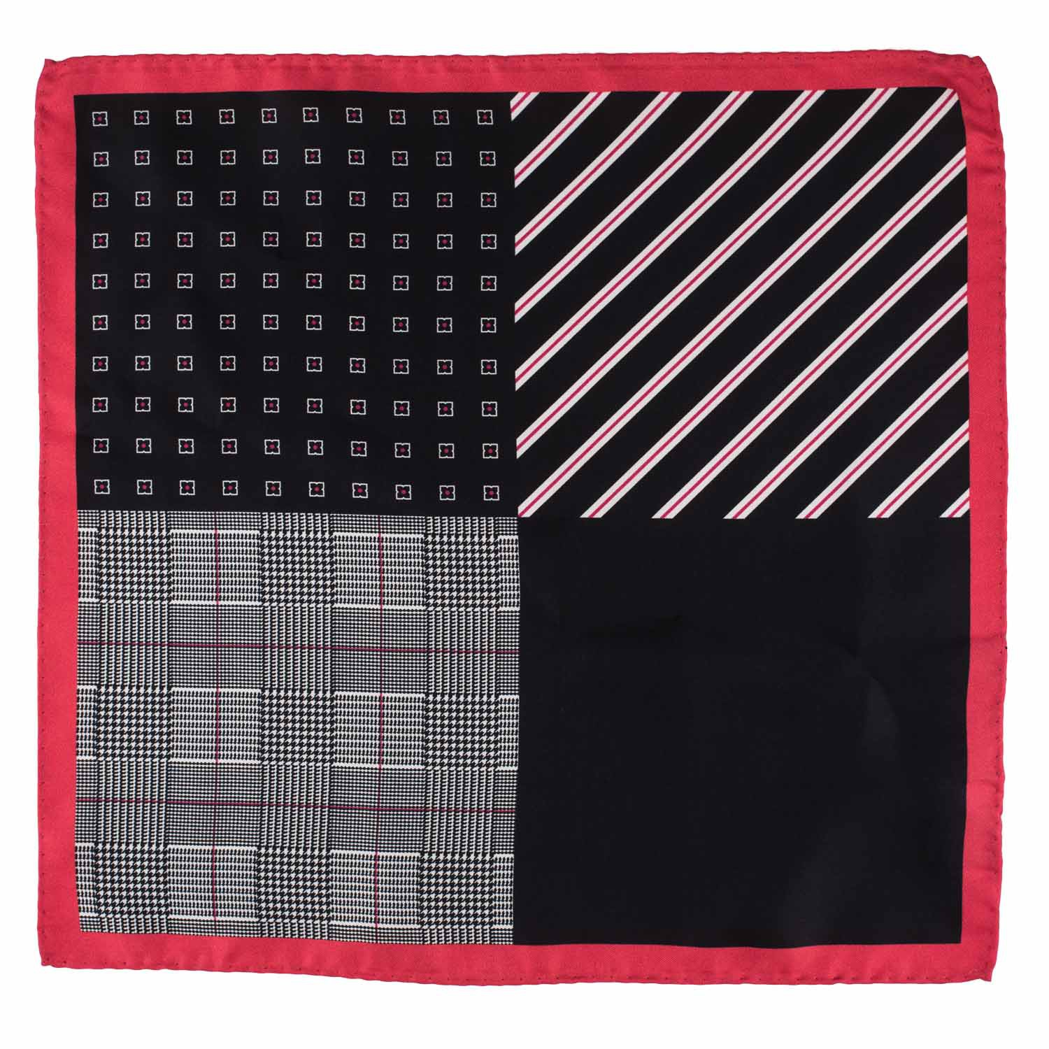 Four Square Printed Black and Red Silk Pocket Square For Men By The Tie Hub
