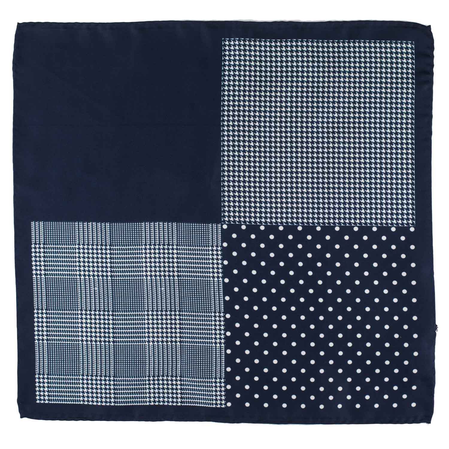 Four Square Checkerd White and Blue Silk Pocket Square For Men By The Tie Hub
