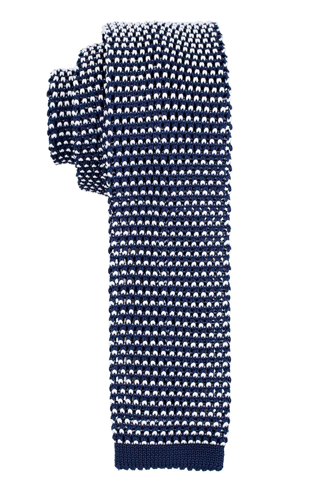 Bullet Pop Navy And White Slim Knitted Necktie