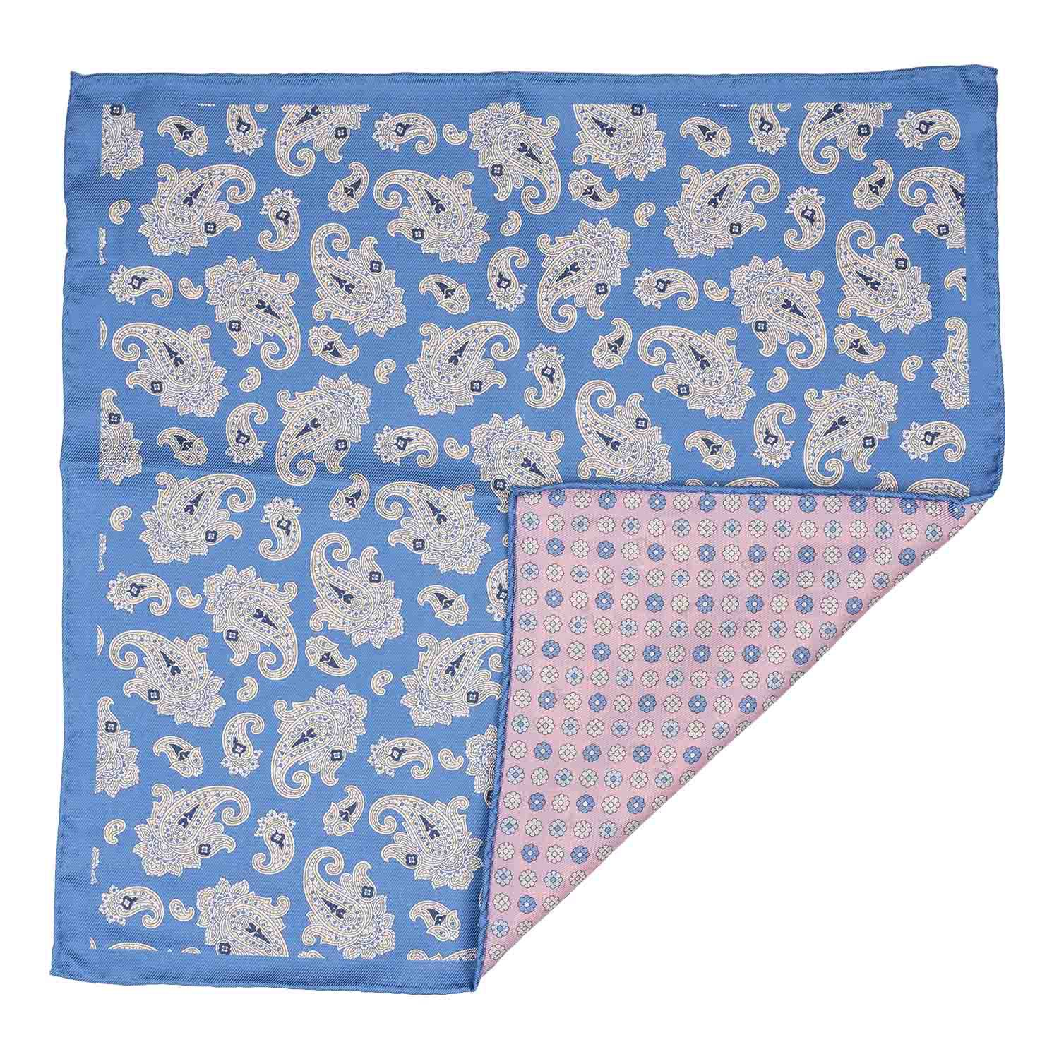 Blue Paisley with Pink Flower 100% Silk Reversible Pocket Square