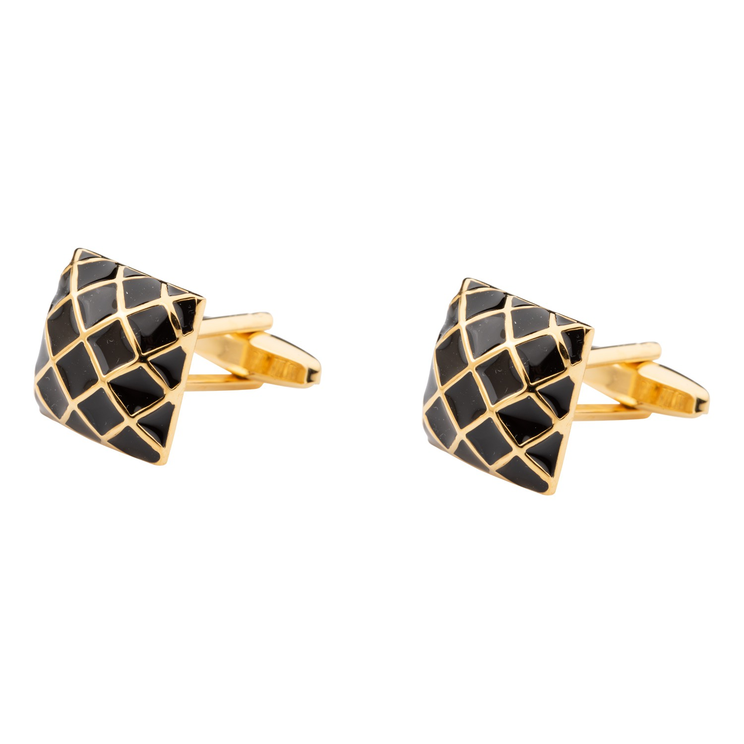 Square Black and Gold Checks Cufflink