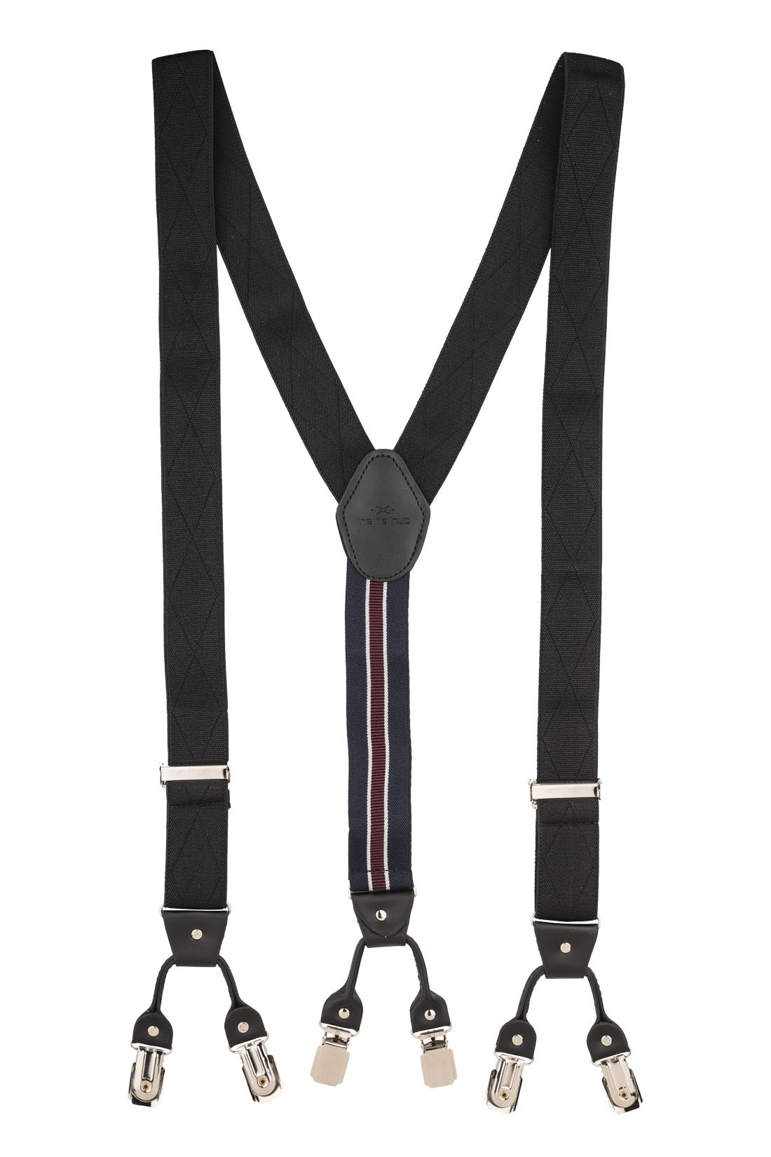 Diamond Tip Black Y Back Suspender