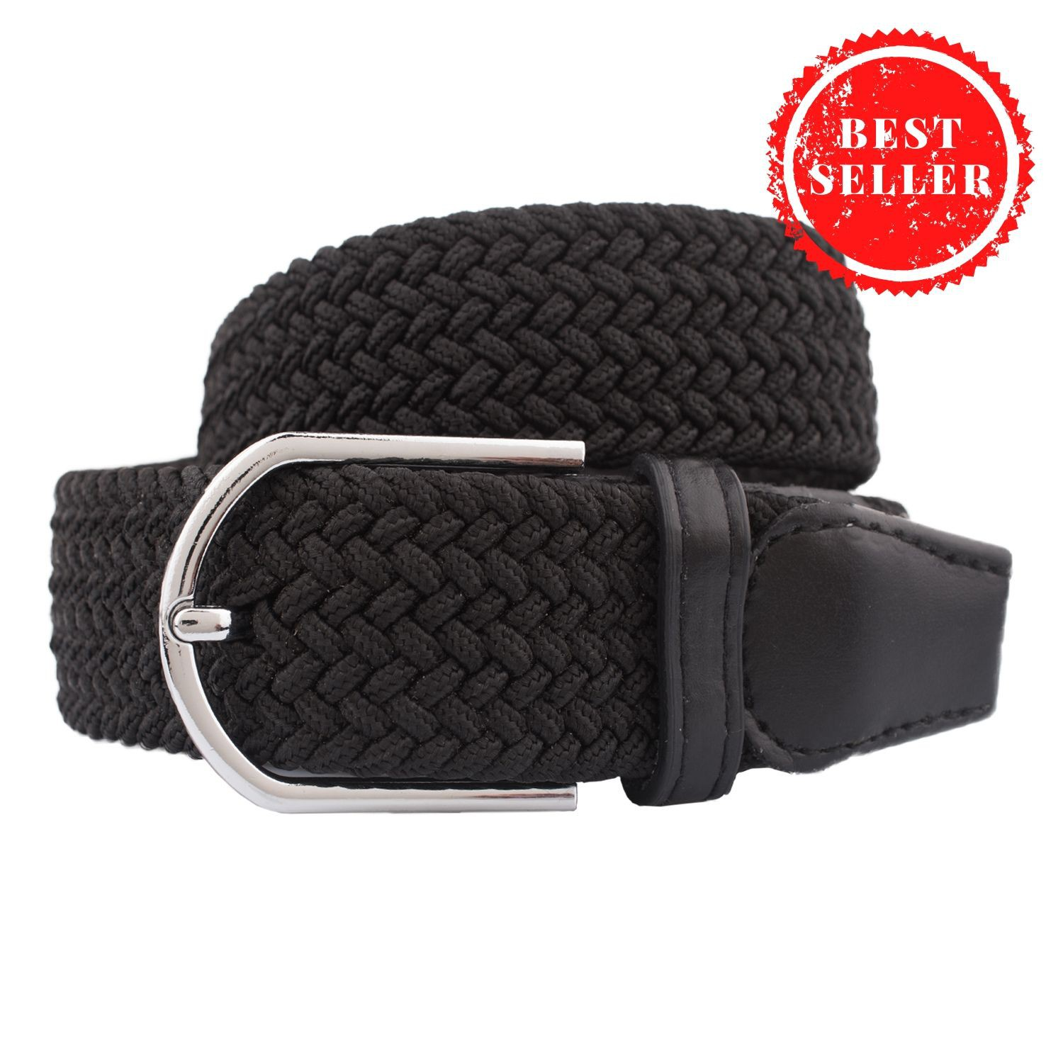 Solid Braid All Black Elasticated Belt