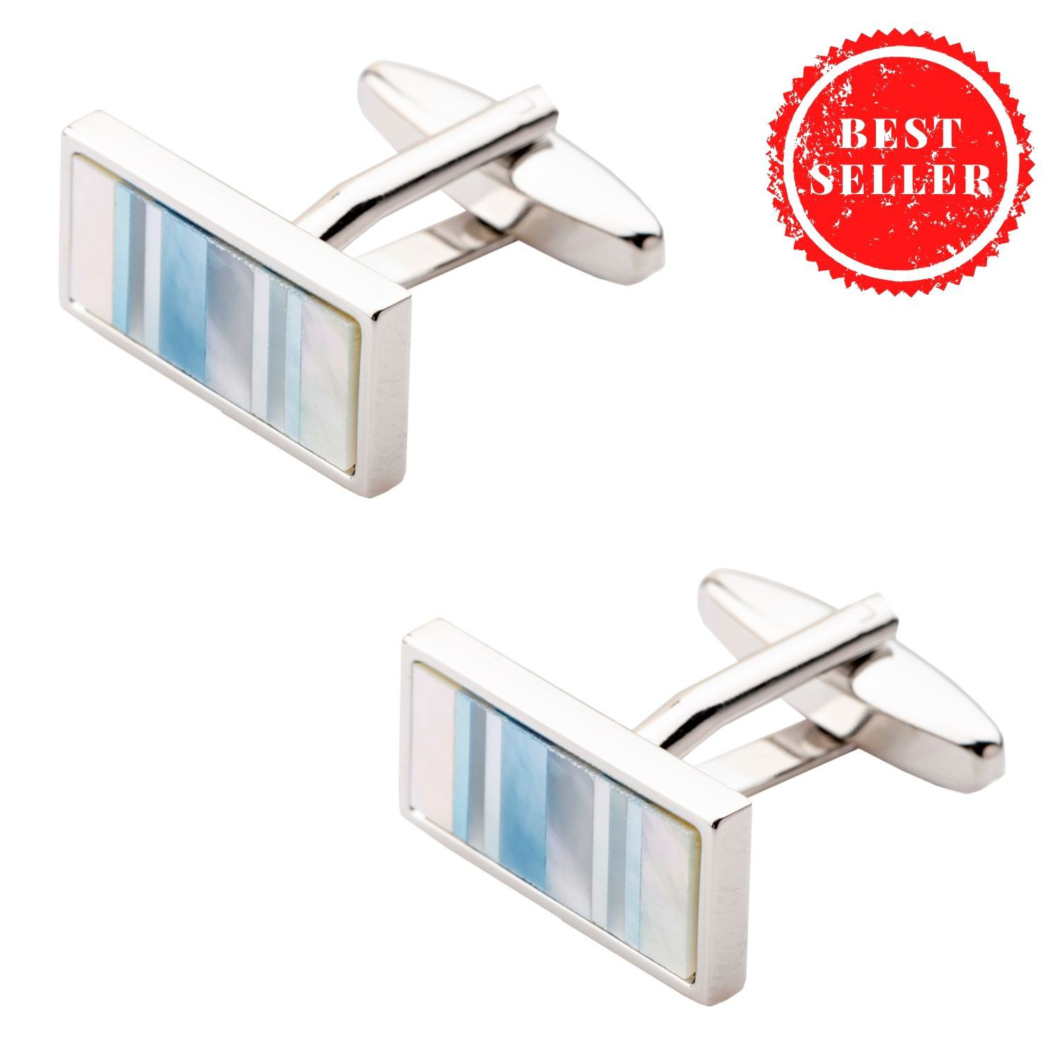 Rectangular Colored Blue MOP Cufflinks