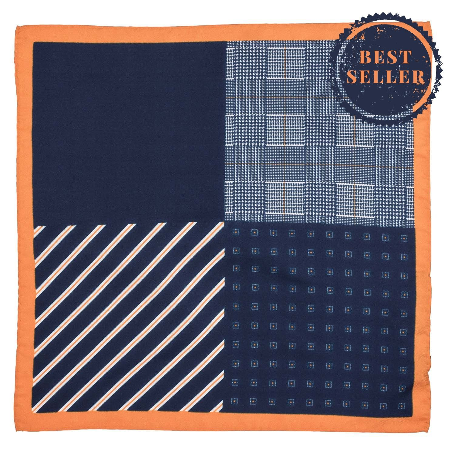 Four Square Printed Navy and Mustard Silk Pocket Square