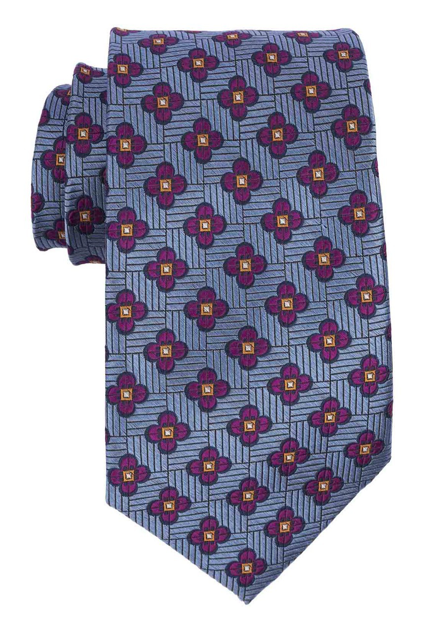 Buzz Blue with Purple Floral 100% Silk Necktie