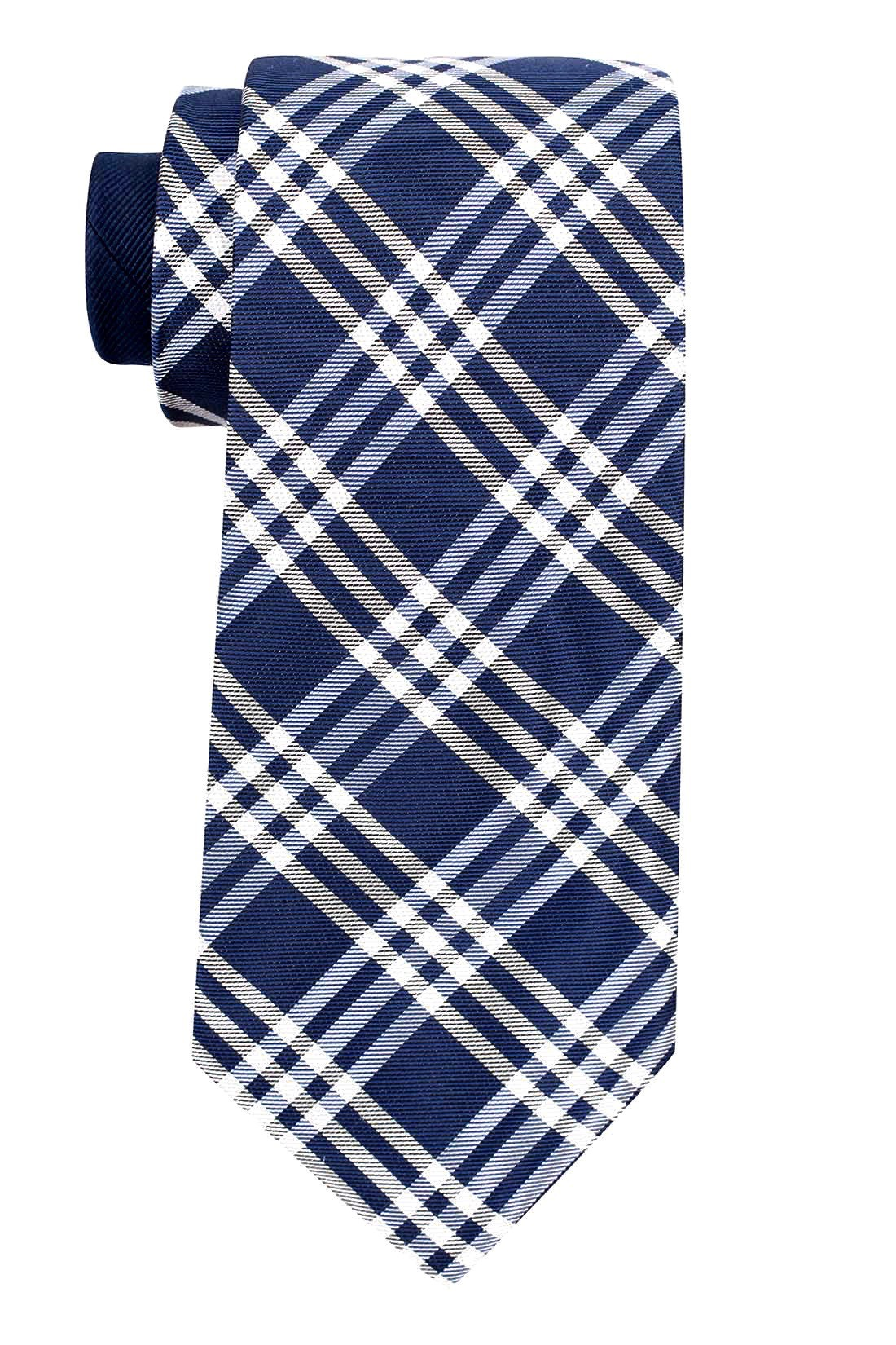 Pittsfield Plaid Blue and White 100% Silk Necktie
