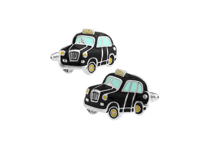 London Taxi Black Enamel Cufflinks