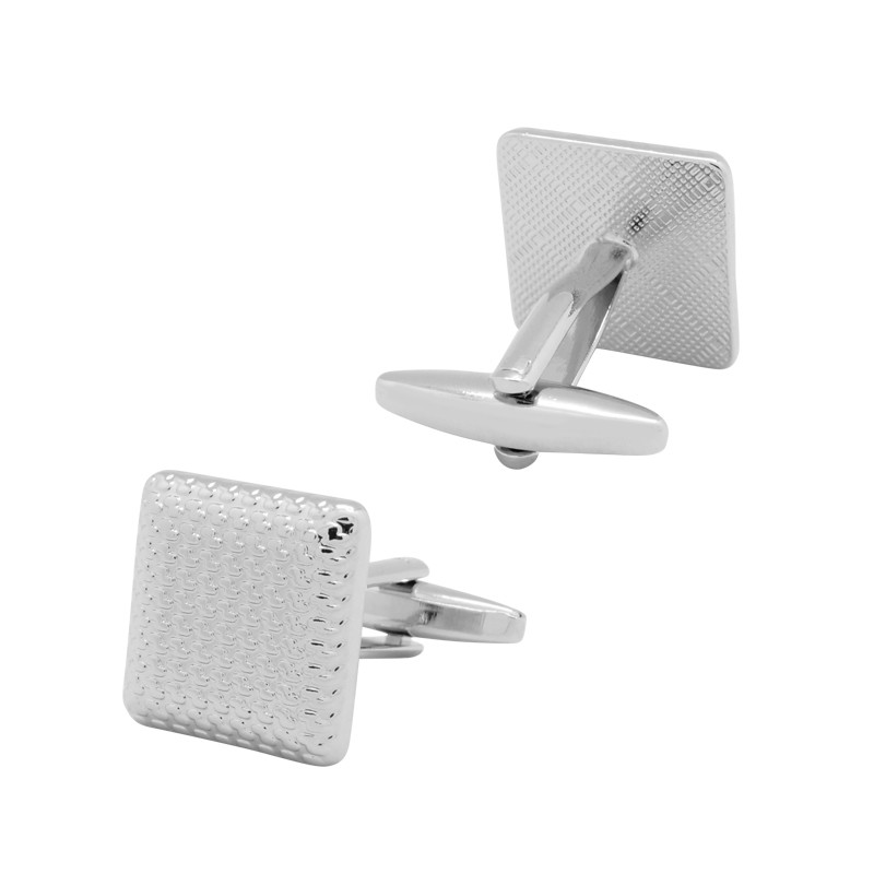 Square curved silver net cufflinks