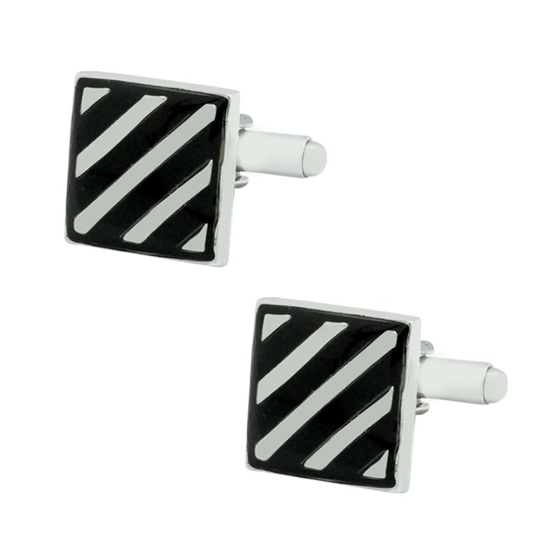 Black Square With Silver Lining Cufflink