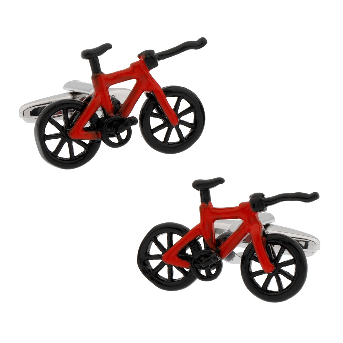Black and red bicycle cufflinks