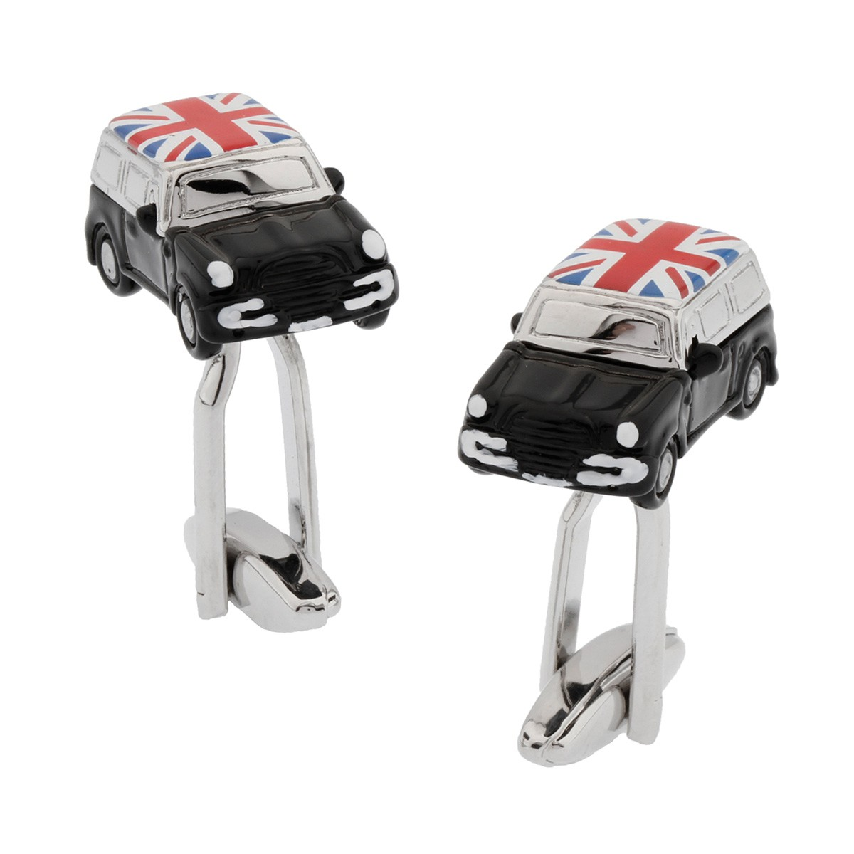 Black Mini Cooper Cufflinks with Union Jack Roof