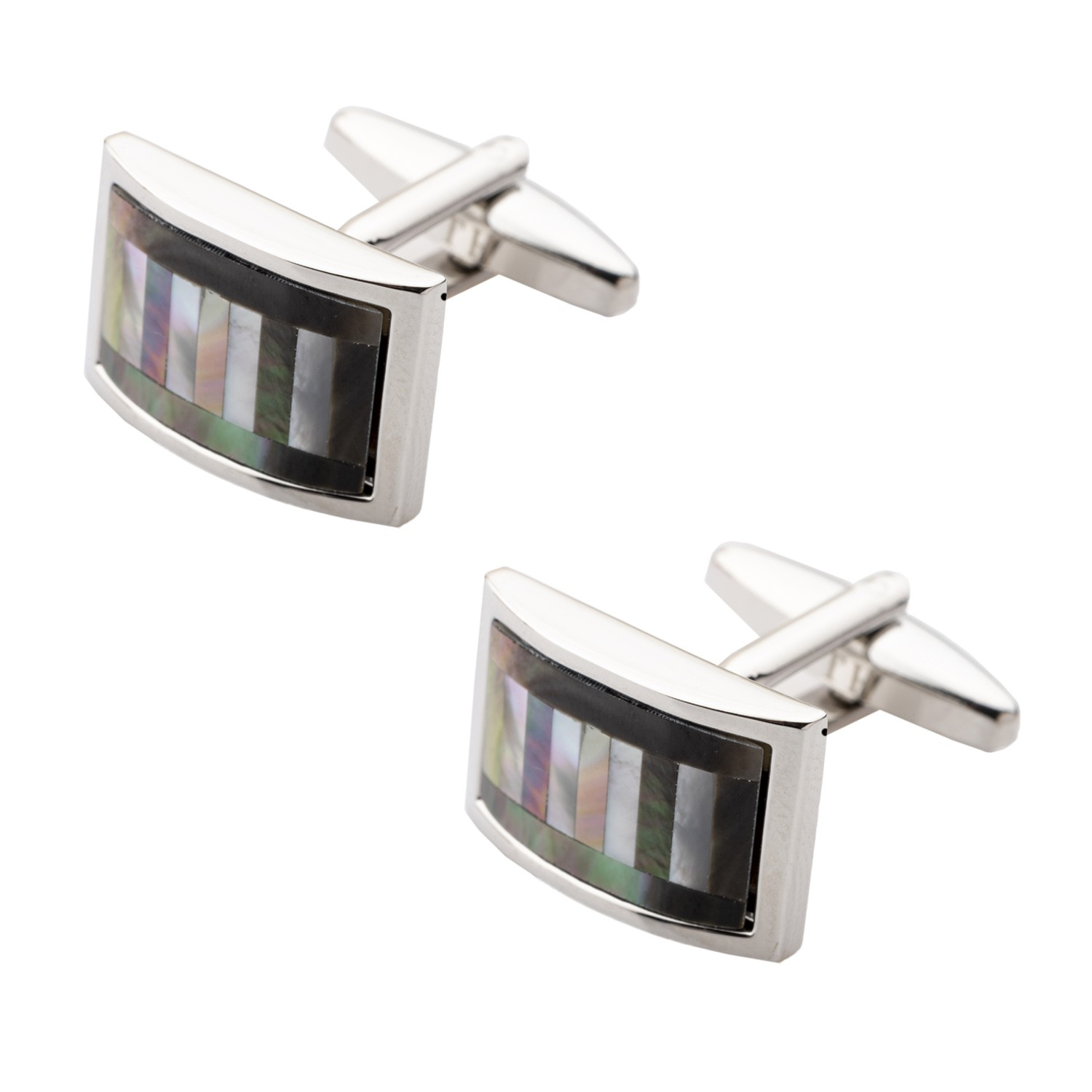 Black MOP Curved Rectanguler Cufflinks