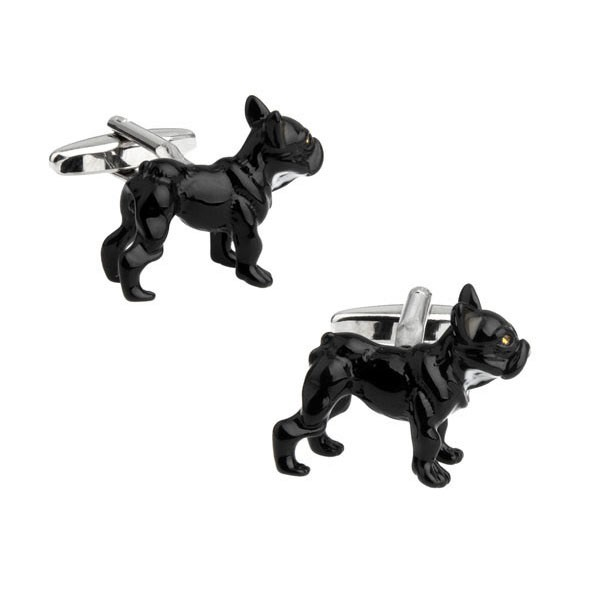 Black Bulldog Puppy Cufflinks