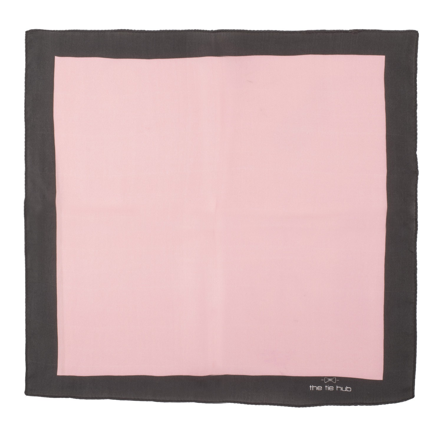 Pink solid with Black Border 100% Silk Pocket Square