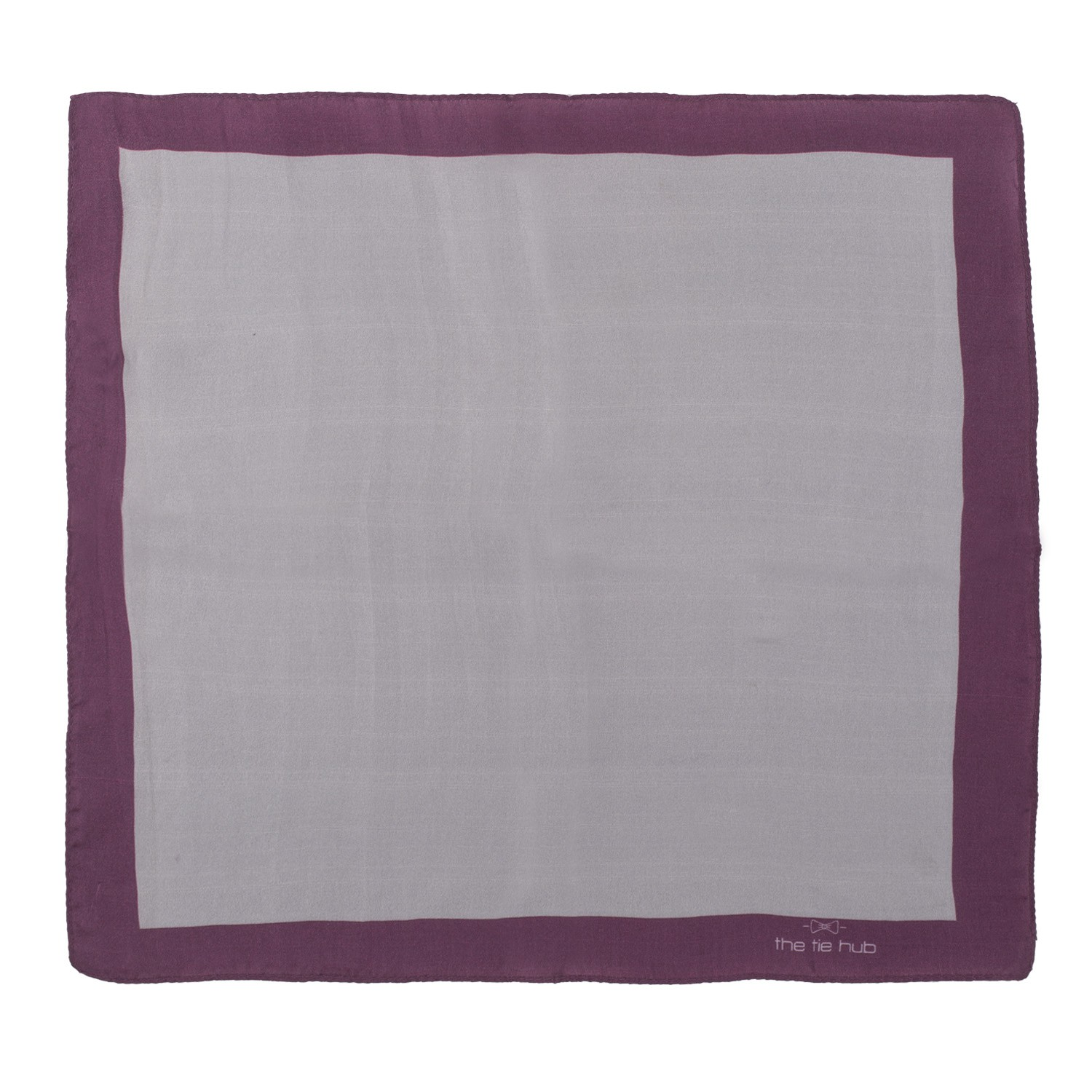 Grey solid with Purple Border 100% Silk Pocket Square