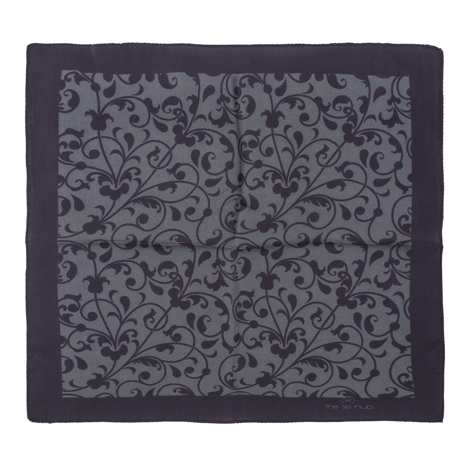 Black and Grey Floral 100% Silk Pocket Square
