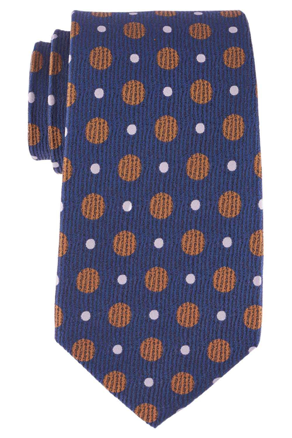 Blue Silk 7 Fold Necktie With Golden And White Dots By The Tie Hub