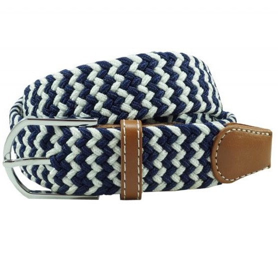 Wave Braid -Navy Blue/White (belt)