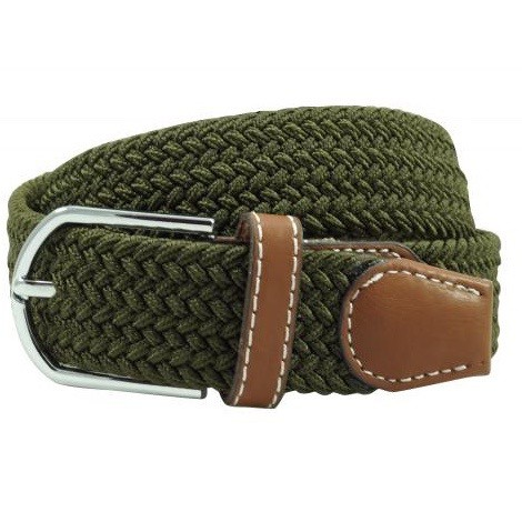 Solid Braid Green Elasticated Belt