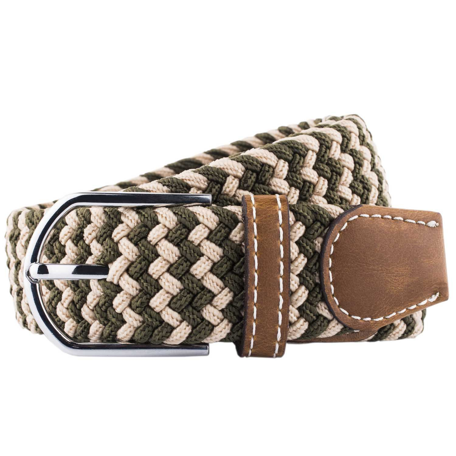 Wave Green Cream Belt Elasticated Woven Belt By The Tie Hub