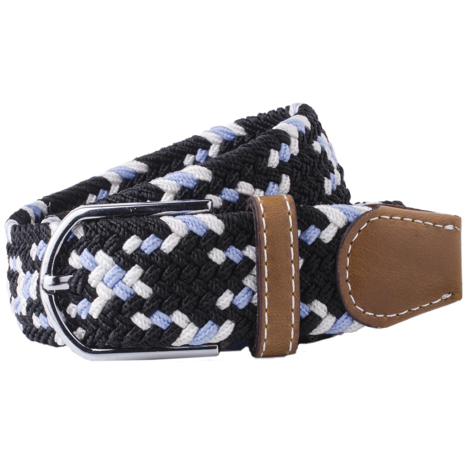 Mink-Black/White/Sky Blue Elasticated Woven Belt