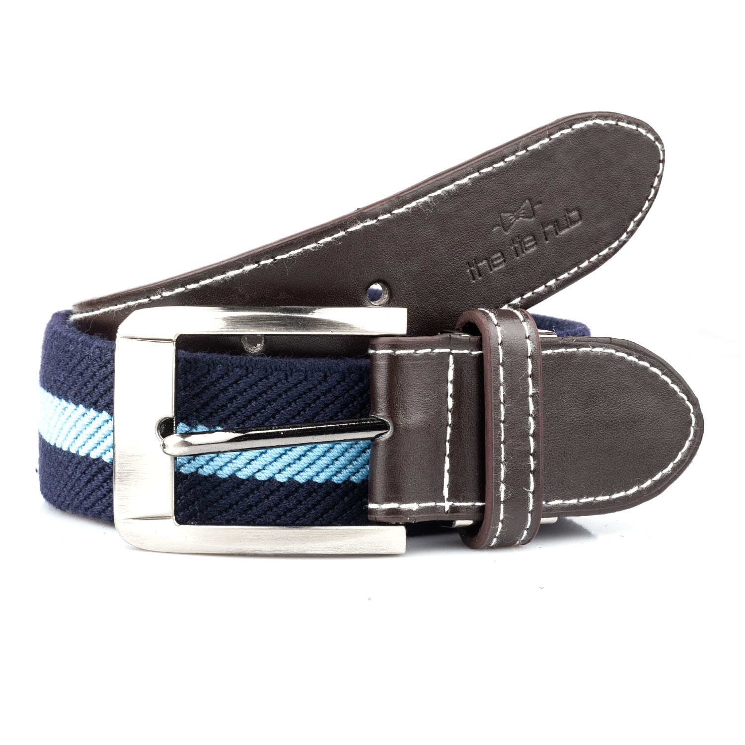 Blue Woven Elasticated Belt With Metal Buckle