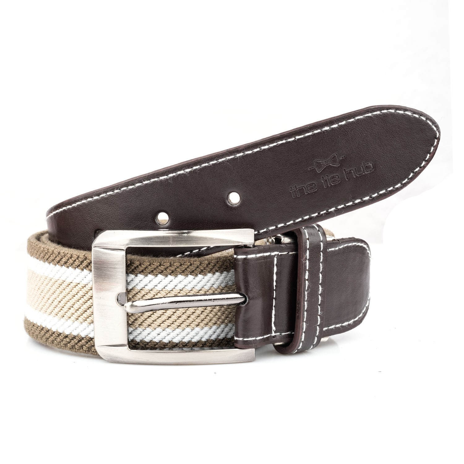 Green And Cream Woven Elasticated With Metal Buckle