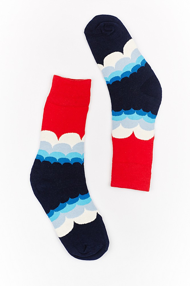 Blue and Red Cloud print Bright socks