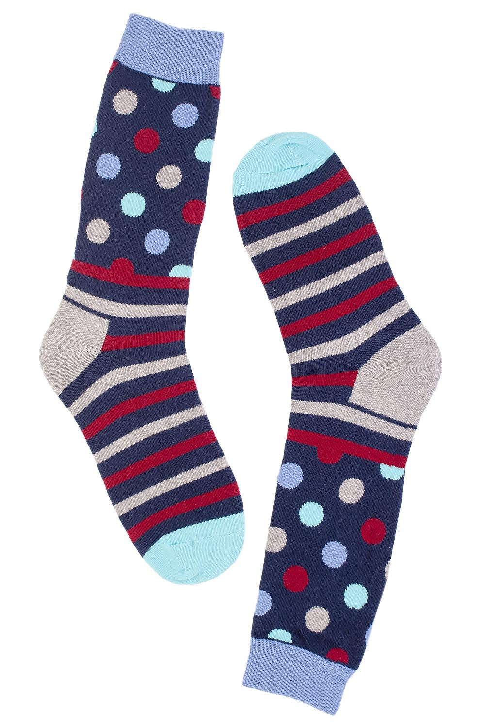 Polka Stripe Multi color and Blue Cotton Rich Socks
