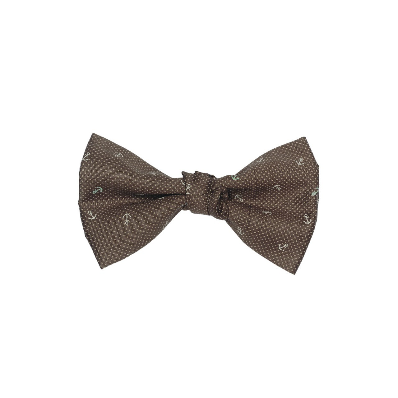 Anchor Brown Pindots Cotton Bow Tie