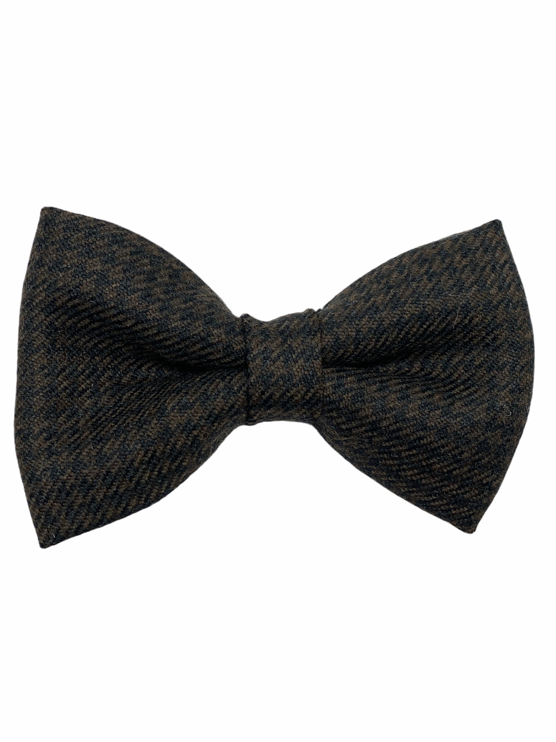 Houndstooth Brown Wool Bow Tie