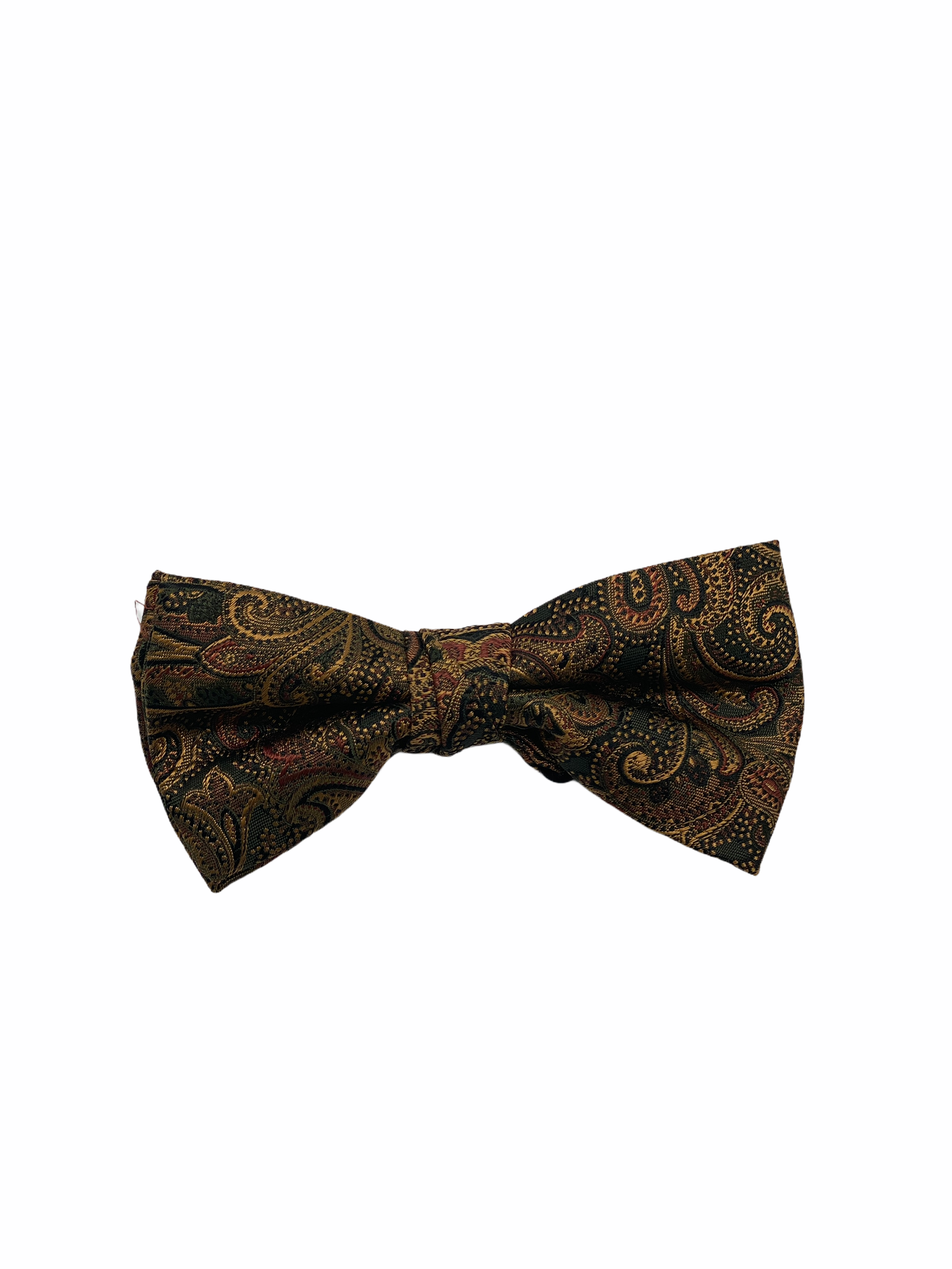 Green with Gold Paisley Silk Bow Tie