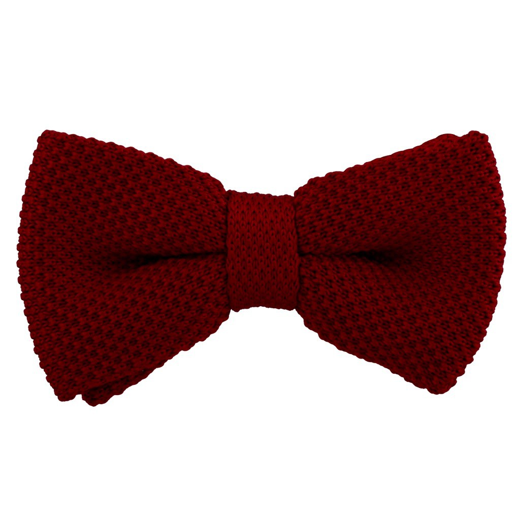Burgundy Knitted Bow Tie For Men