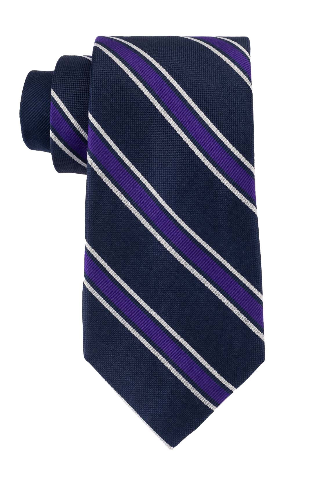 Lumber Blue with Purple Stripe 100% Silk Necktie