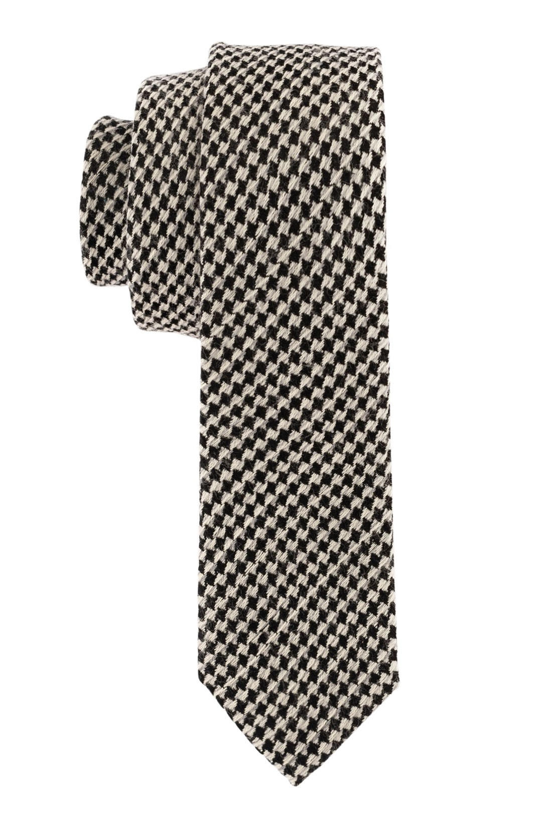Houndstooth Black And Grey 50% Wool and 50% Silk Necktie
