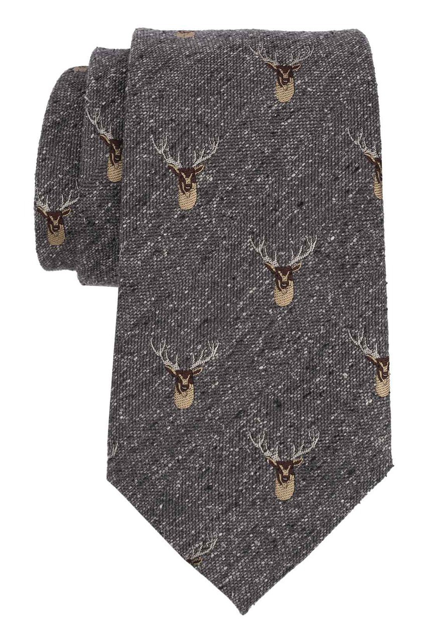 Reindeer Grey With Brown 100% Shantung Silk Necktie