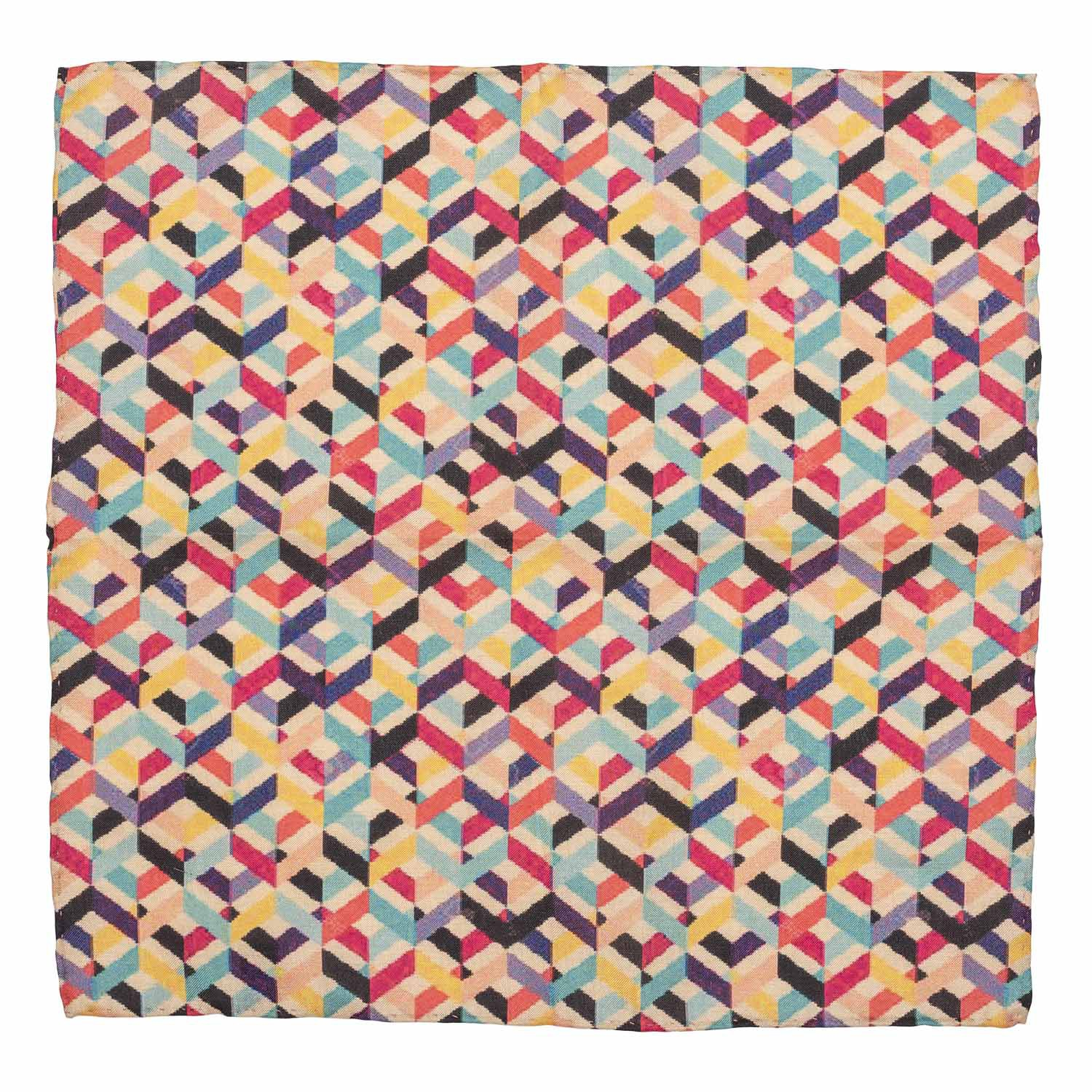 Criss cross Multicolor Silk and Khadi Pocket Square
