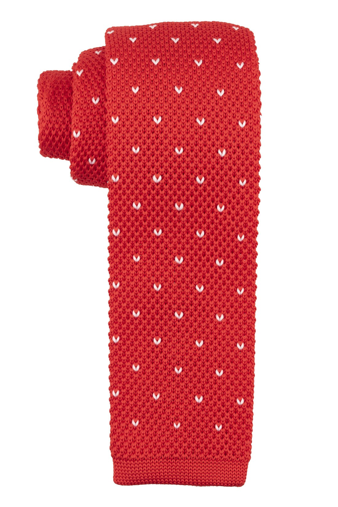 Red with White knight Dots Slim Handmade Knitted Necktie