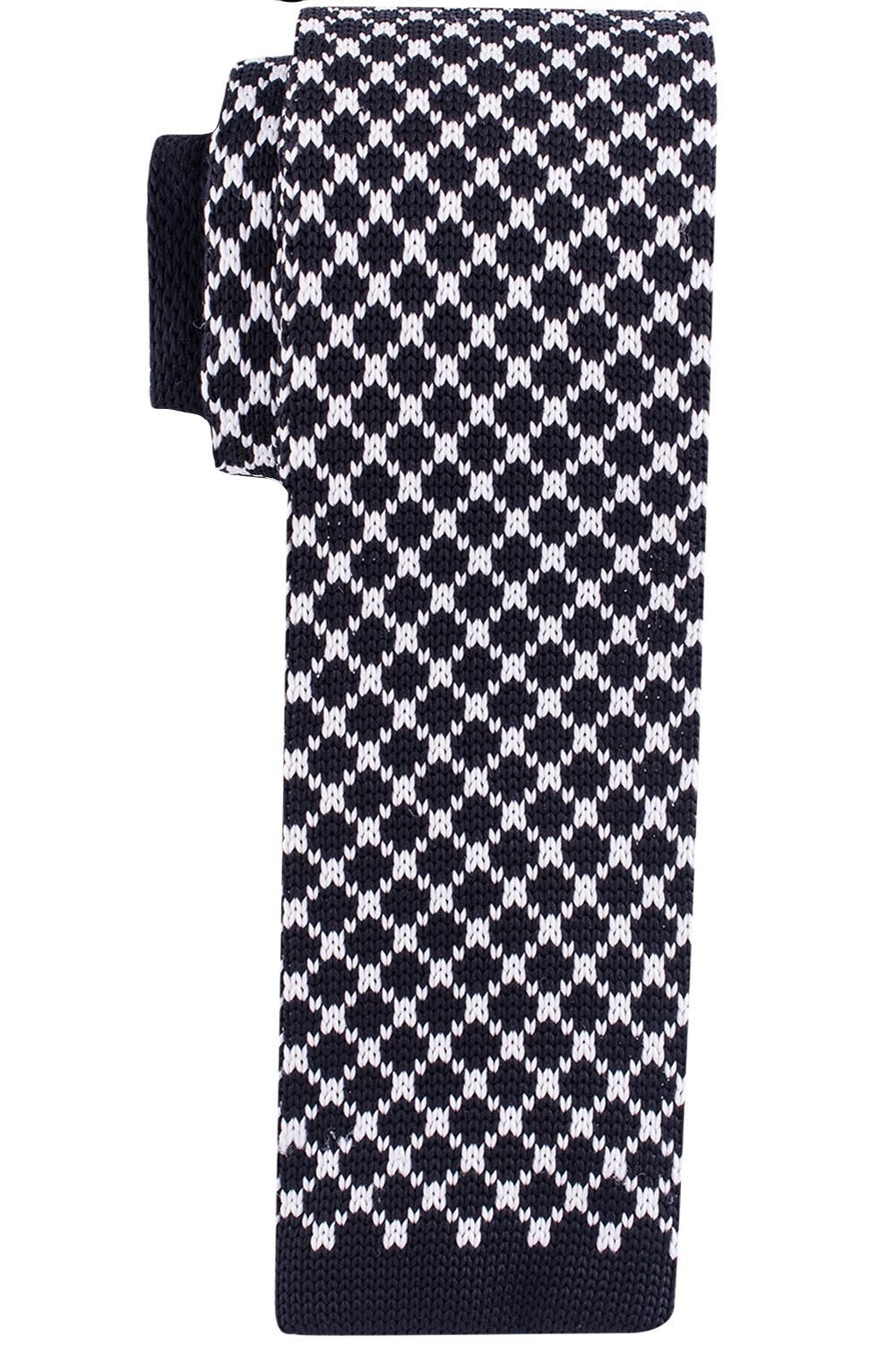 Rancho Plaid Black and White Slim Knitted Necktie